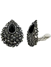 Black Austrian Crystal Teardrop Clip on Stud Earrings Stone Silver Tone