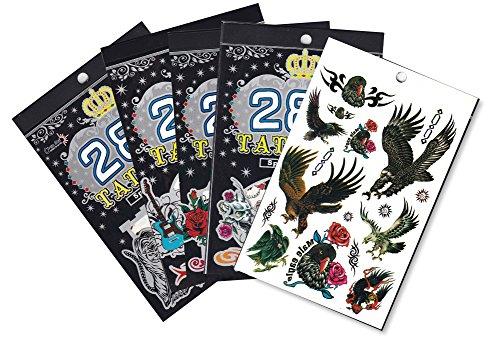 5 Packs Body Art tatouage temporaire Livre, animaux sauvages, Cartoon, Crâne tatouages pour les gars