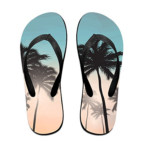 Summer Background And Palm Trees Common Beach Slippers For Men And (Palm Tree Slipper)