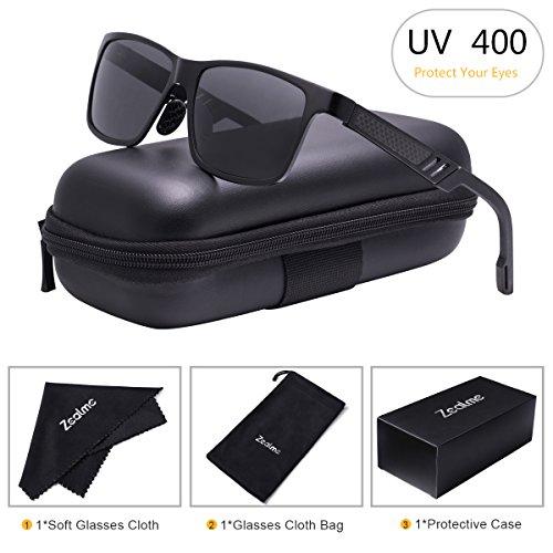 Zealme Polarized Wayfarer Driving Sunglassesfor Men Women HD Vision Anti Glare Lens UV 400 UVA UVB Glasses Lightweight Durable Metal Frame for Hiking Bike Cycling (Black) - Rim Wide Glasses