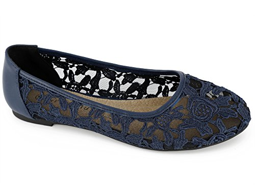 Cut Out Ballet Flat (Greatonu Women Shoes Cut Out Navy Slip On Synthetic Loafers Lace Ballet Flats 9 US)