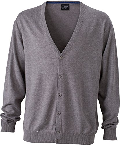 Neck Cardigan V Men's Neck with Men's Heather Grey Cardigan V wqIZq04