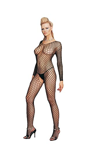 7f1a50a1dd1 Image Unavailable. Image not available for. Color  Womens Leg Avenue 8748 Lycra  Ringo Hole Long Slvs Bodystocking