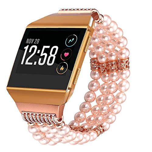 Bands Compatible for Fitbit Ionic Watch - Fastgo Replacement Bracelet Compatible for Fitbit Ionic(Artificial Pearl Beaded Compatible for Fitbit Ionic Accessories for Women or Girls)(Pink) -