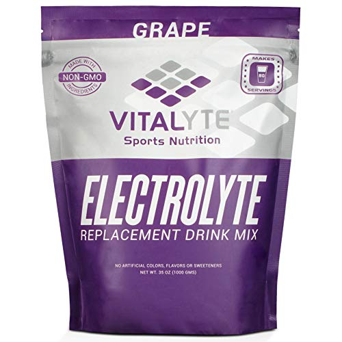 Vitalyte Electrolyte Powder Sports Drink Mix, 80 Servings Per Container, Natural Electrolyte Replacement Supplement for Rapid Hydration & Energy - Grape (Best Drink For Electrolyte Imbalance)