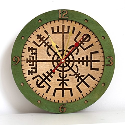 Vegvisir II viking compass unique Icelandic Viking rune for luck and blessings, decor wooden wall clock emerald green. Personalized, housewarming, one-of-a-kind, gift