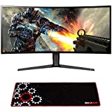 LG 34GK950F-B 34' UltraWide QHD Curved LED FreeSync Gaming Monitor (2018) w/Deco Gear Large Extended Pro Gaming Mouse Pad