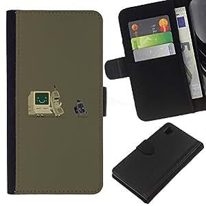 KingStore / Leather Etui en cuir / Sony Xperia Z1 L39 / Gray Computer Es Nerd Tech Vintage