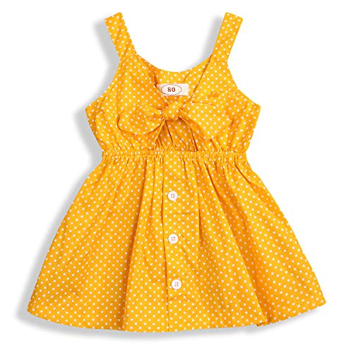 YOUNGER TREE Toddler Baby Girls Summer Outfits Yellow Polka Dot Button Sundress Sleeveless Bowknot Dress OneSize (Yellow, 12-18 Months)