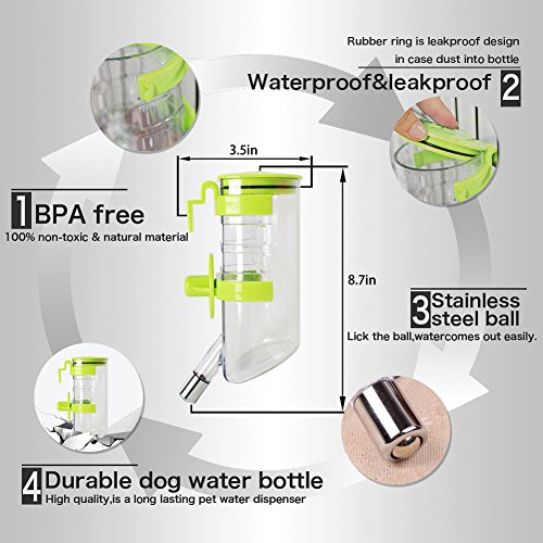 Dogs Crate Water Bottle Dispenser-Best Collapsible Water Automatic Water Drinking Feeder Stainless Steel Ball Heavy Duty Lazy Animals Kitten Guinea Pig Crate Cage Kennel (Green,350ML) by Yitour (Image #2)