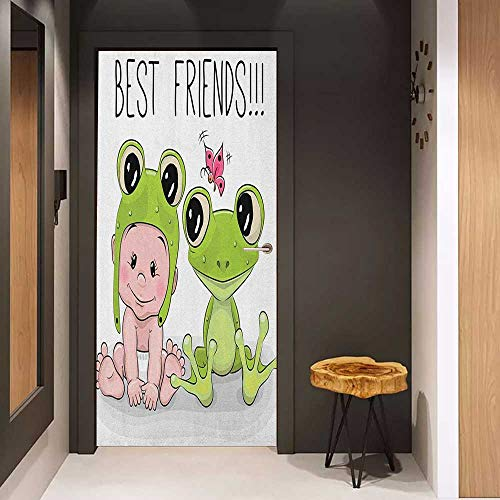 Onefzc Automatic Door Sticker Animal Cute Cartoon Baby in Froggy Hat and Frog Best Friends Love Theme Graphic Easy-to-Clean, Durable W17.1 x H78.7 Cream White Green