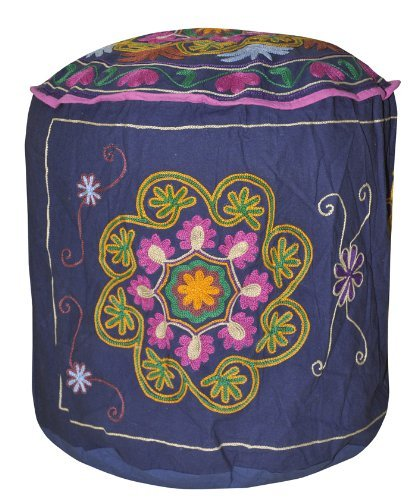 Lalhaveli Flower Design Cotton Round Ottoman Cover Heavy Embroidery 18 X 18 X 18 Inches