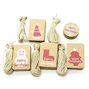 250 Pack Brown Kraft Paper Christmas Gift Tags with Twine String Tie on Smooth for DIY Arts and Crafts, Wedding Christmas Thanksgiving and Holiday