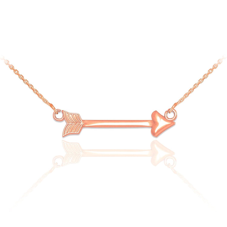 14k Rose Gold High Polish Sideways Arrow Pendant Necklace