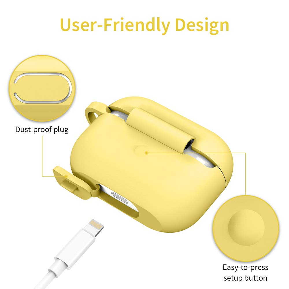2019 Release Visible Front LED ESR Protective Cover for AirPods Pro Case Bounce Carrying Case with Keychain for AirPods Pro Charging Case Yellow Shock-Absorbing Soft Slim Silicone Case Skin