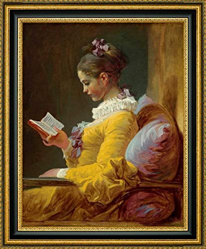 """Young Girl Reading by Jean Honore Fragonard - 30.25"""" x 37.25"""" Gold and Black Framed Giclee Canvas Art Print - Ready to Hang"""