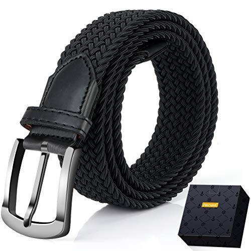 Elastic Braided Belt, Fairwin Enduring Stretch Woven Belt for Men/Women/Junior (M (for waist 32''-35''), Black2)
