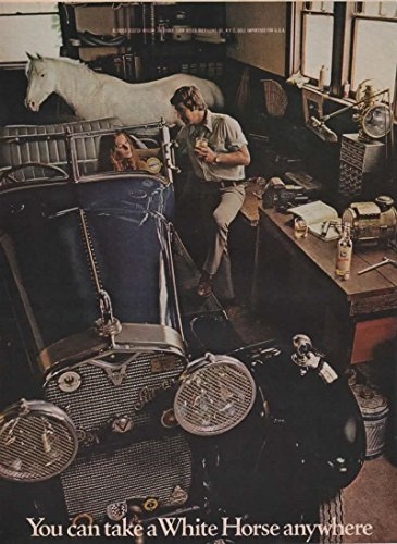 Magazine Print Ad: 1971 White Horse Blended Scotch Whisky, Antique Automobile Garage Workshops scene,