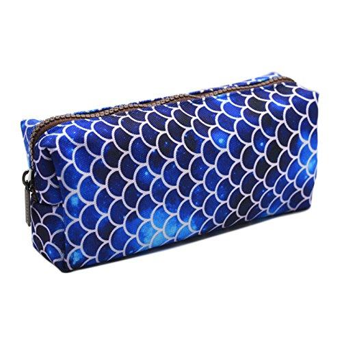 LParkin Mermaid Large Capacity Canvas Pencil Case Pen Bag Pouch Stationary Case Makeup Cosmetic Bag (Deep Blue) ()