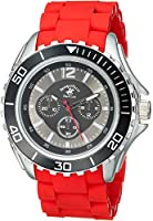 US Beverly Hills Polo Club Men's 'Beverly Hills Polo Club' Quartz Metal and Rubber Casual Watch, Color:red (Model: 53366)