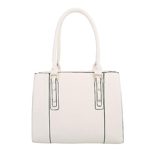 fe65115f3fefc Ital-Design Damen-Tasche Mittelgroße Schultertasche Handtasche Kunstleder  Creme TA-K697