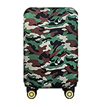 JBJANY Washable Travel Luggage Cover Spandex Green Camo Suitcase Protector Baggage Fits 20 24 28 Inch Luggage(Only Cover)