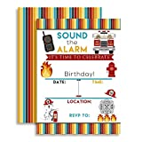 Fire Truck and Fireman Rescue Birthday Party Celebration Invitations, Ten 5''x7'' Fill In Cards with 10 White Envelopes by AmandaCreation