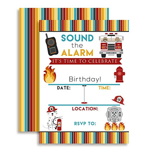 Fire Truck and Fireman Rescue Birthday Party Celebration Invitations, 20 5