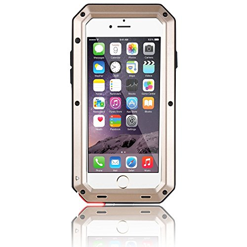 Protector Case Aluminum - iPhone 6S Plus Case, Gorilla Glass Luxury Aluminum Alloy Protective Metal Extreme Shockproof Military Bumper Heavy Duty Cover Shell Case Skin Protector for Apple iPhone 6/6S Plus 5.5'' (Gold)
