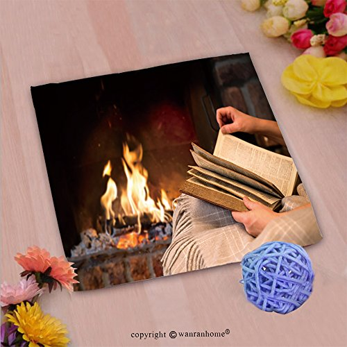 VROSELV Custom Cotton Microfiber Ultra Soft Hand Towel-hands of woman reading book by fireplace_ Custom pattern of household products(20''x20'') by VROSELV