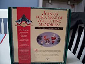 Hallmark 1996 Membership Kit with 3 Hallmark Christmas Ornaments Rudolph's Helper, Rudolph the Red Nosed Reindeer & Santa Clause