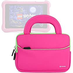 Evecase All-New Fire 7 Kids Edition Tablet Sleeve, Ultra Portable Handle Carrying Portfolio Neoprene Sleeve Case Bag for Amazon Fire HD 6 / 7 Kids Edition, 6'' / 7 inch HD Display - Hot Pink