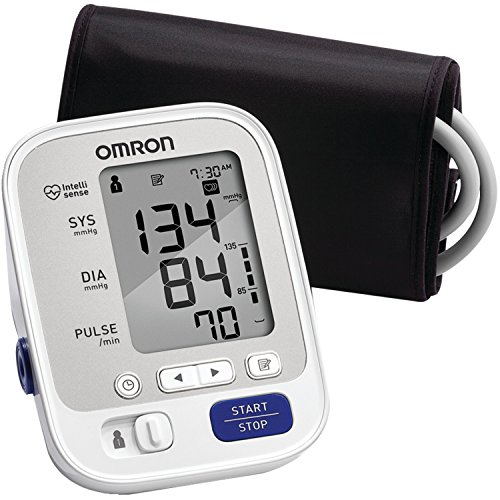 Inflate Pressure Monitor Blood (Omron 5 Series Upper Arm Blood Pressure Monitor with Cuff that fits Standard and Large Arms)