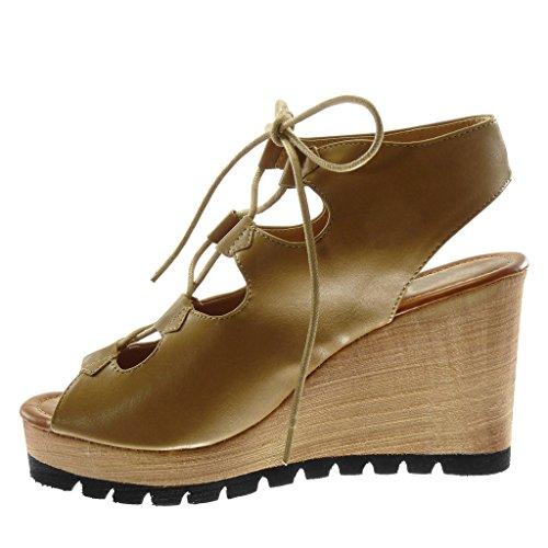 Camel Peep Angkorly 5 cm Compensé Sandale Plateforme Plateforme Talon Toe 9 Chaussure Mode Spartiates Mule Femme Bois II4aw