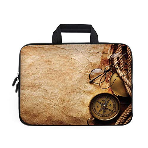 Compass Decor Laptop Carrying Bag Sleeve,Neoprene Sleeve Case/Compass Rope and Glasses on Old Paper History Exploring Cartography Illustration/for Apple MacBook Air Samsung Google Acer HP DELL Lenovo