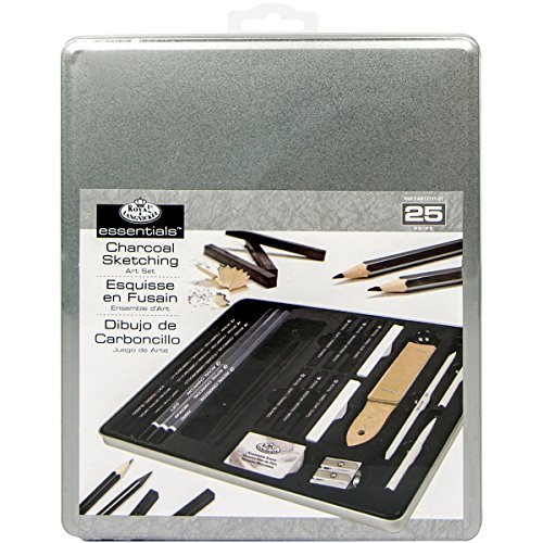 Compressed Charcoal Pencil - Royal & Langnickel Standard Tin Charcoal Drawing Art Set