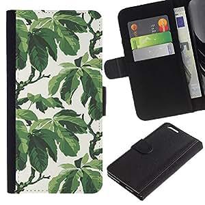 BearCase / Cuero de la tarjeta la carpeta del tirón Smartphone Slots Protección Holder /// Apple Iphone 6 PLUS 5.5 /// Árbol del Verano Hojas Modelo del papel pintado