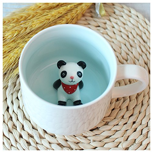 Kederastyle 3D Cute Cartoon Miniature Animal Figurine Ceramics Coffee Cup - Baby Animal Inside, Best Office Cup & Birthday Gift (Panda)