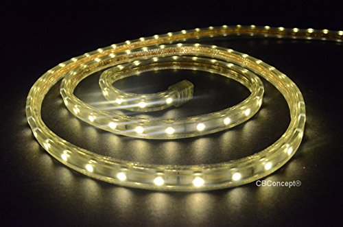CBConcept UL Listed, 164 Feet, 18000 Lumen, 3000K Warm White, Dimmable, 120V AC Flexible Flat LED Strip Rope Light, 3000 Units 3528 SMD LEDs, Indoor/Outdoor Use, Accessories Included, [Ready to use] by CBconcept