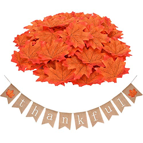 Gejoy Burlap Thankful Banner Thanksgiving Bunting Decorations with 100 Pieces Artificial Maple Leaves for Home Party Festival Decoration