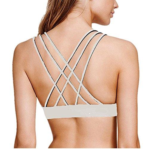 Women's Plunge Yoga Sports Bra Triangle Wirefree Strappy Top White L