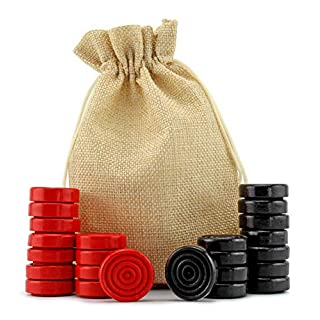 Attatoy Black & Red Carved Stackable Wooden Checkers (24 Pieces); with Drawstring Cloth Storage Bag