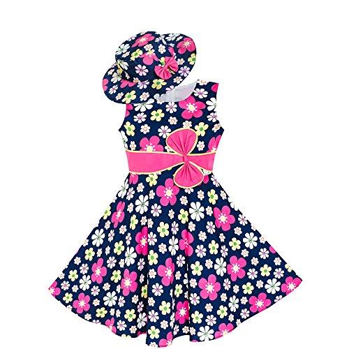 LS43 Girls Dress Sunhat Purple Flower Princess Size - 7 Hat Size