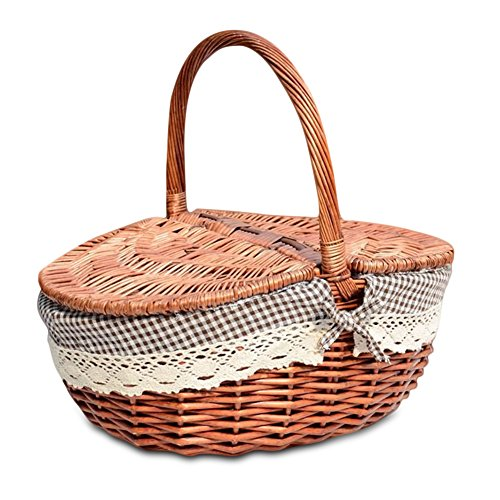 Yunhigh Wicker Lined Picnic Basket with Lid & Handle Natural Willow Woven Shopping Camping Storage Basket Hamper Classic Vintage Country Style - Small (Hamper Classic)