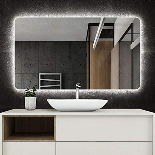 Mirror Illuminated LED Backlit Bathroom Light with Anti-Fog Demister,Wall-Mounted Rectangle, for Makeup, -