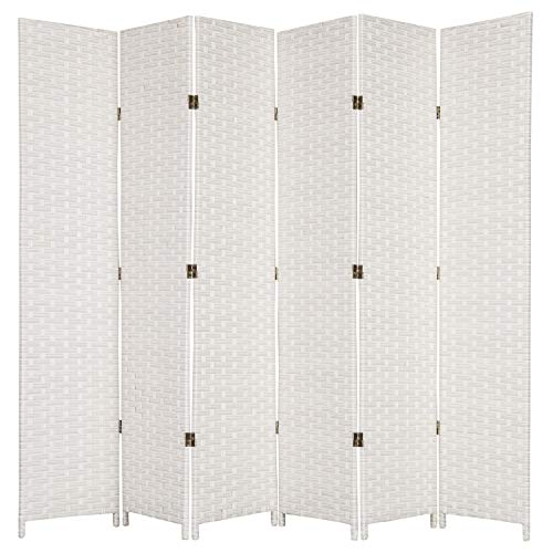 (MyGift Folding Wood Room Divider, Standing 6-Panel Woven Privacy Screen,)