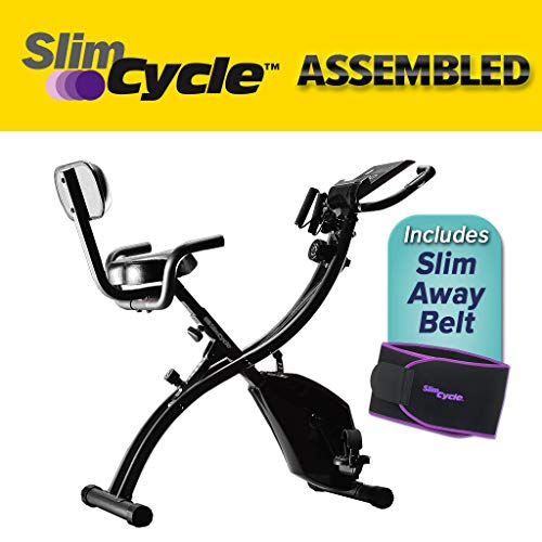 BulbHead Original As Seen On TV Slim Cycle 2-in-1 Stationary Bike Exercise Equipment Transforms from Upright Exercise Bike to Recumbent Bike Perfect for Cardio Training ... (Assembled with Belt)
