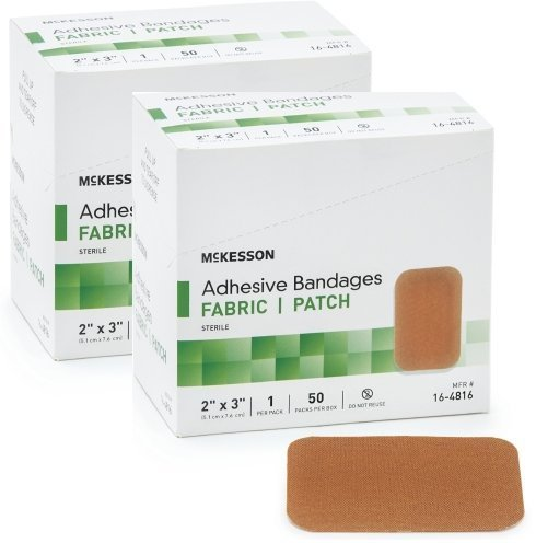 "McKesson 16-4816 Medi-Pak Adhesive Strip, Performance Fabric, 2"" x 3"" (2 boxes of 50)"