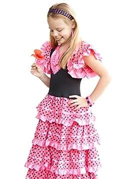 La Senorita Vestido Flamenco Español Traje de Flamenca chica/niños rosa negro: Amazon.es: Juguetes y juegos