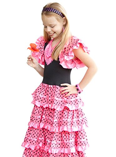 La Senorita Spanish Flamenco Dress Princess Costume - Girls / Kids - Pink / Black (Size 8 - 6-7 years, pink (Girls Spanish Flamenco Dancer Costume)